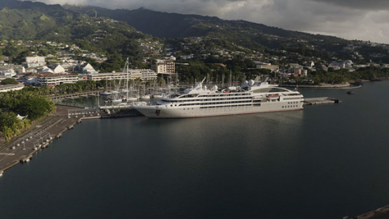 Papeete, aerial view over the Cruise ships moored at the harbour, 4K UHD