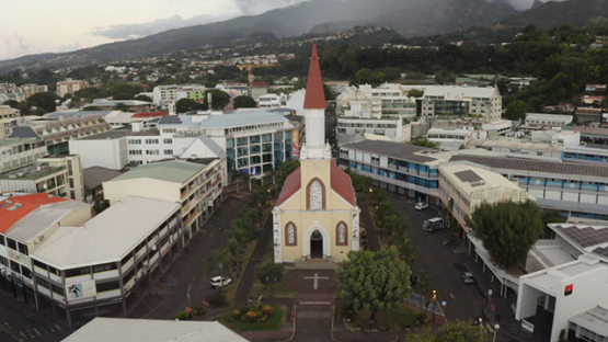 Papeete, aerial view of the cathedrale, 4K UHD