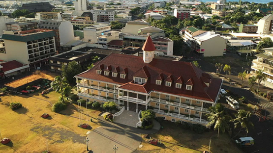 Aerial view of the town hall of Papeete, Tahiti 4K UHD