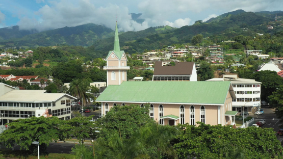 Aerial view of a Church in Papeete at the end of the day, Tahiti, 4K UHD