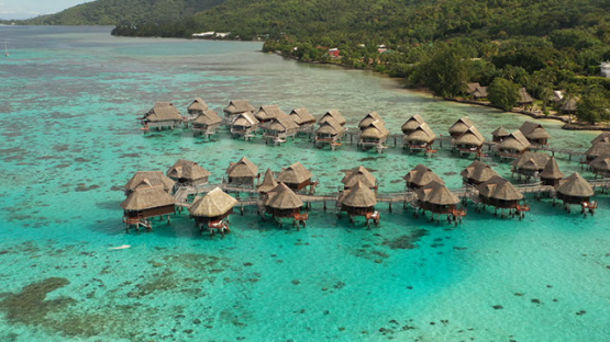 Aerial Drone shot of overwater bungalows in the lagoon, Moorea, 4K UHD