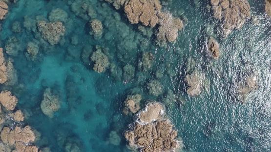 Tahiti, aerial view of Te Pari, lady swimming by the reef, 4K UHD
