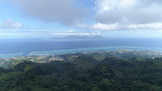 Aerial view of Tahiti, coast of Punaauia from the hill, 4K UHD