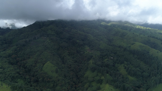 Aerial view of Tahiti, forest and mountain under the clouds, 4K UHD