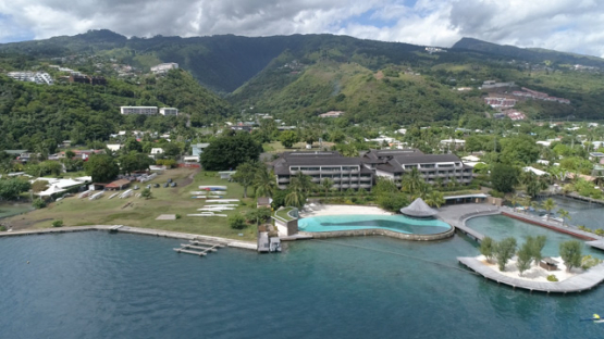 Aerial view of Tahiti, hotel on the coast of Punaauia, 4K UHD