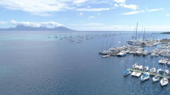 Aerial view of Tahiti, sail boats in the lagoon of Punaauia, 4K UHD