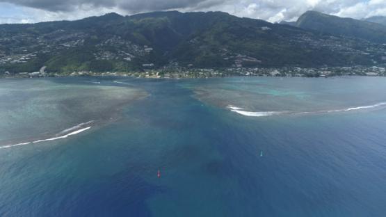 Aerial view of Tahiti, Punaauia and Taapuna pass, 4K UHD
