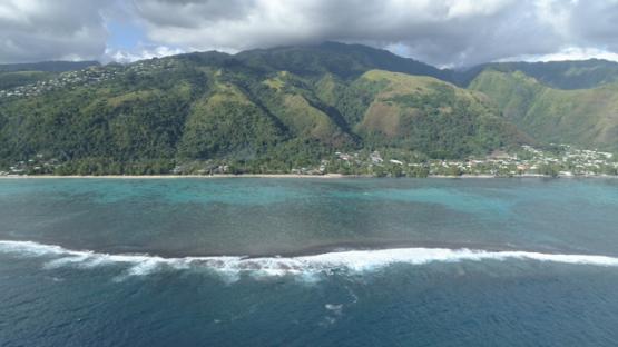Tahiti, aerial view of the reef and the Beach Vaiava, Pk18 Paea, 4K UHD