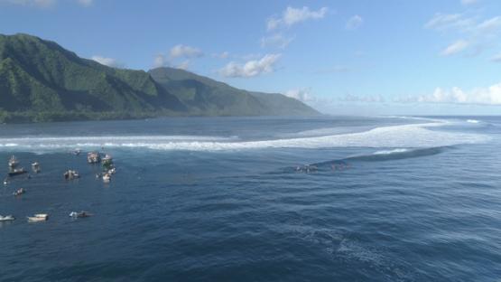 Tahiti, aerial view of surfers at Teahupoo, 4K UHD