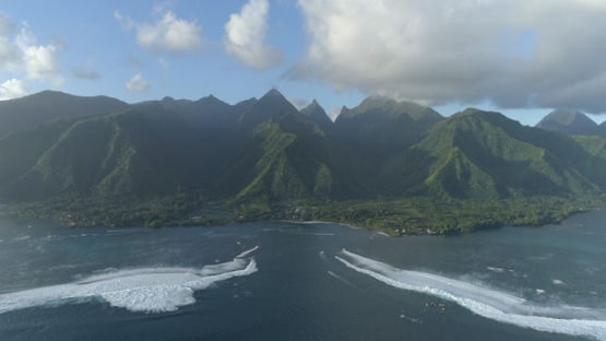 Tahiti, aerial view of the pass and wave Teahupoo, 4K UHD