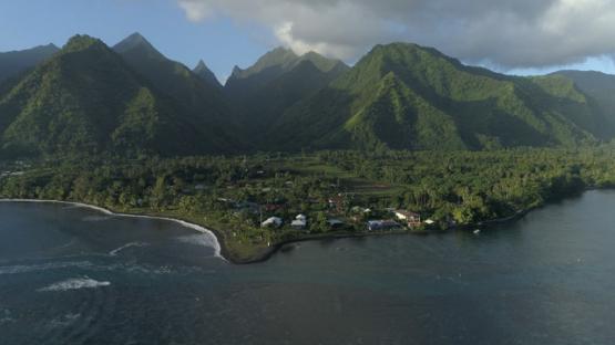 Tahiti, aerial view of the pass Teahupoo, lagoon and mountain, 4K UHD