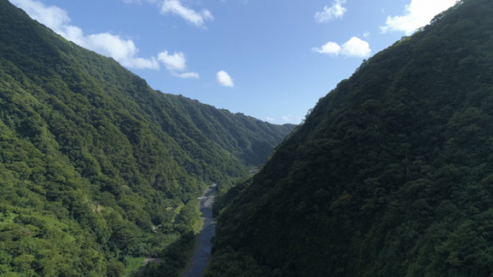 Tahiti, aerial view of the river of the Valley of Papenoo and mountains, 4K UHD