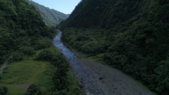 Tahiti, aerial view of Valley of Papenoo and the river, 4K UHD