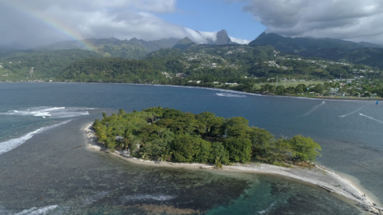 Tahiti, Mahina, aerial view of Motu Martin and kite surfers, 4K UHD