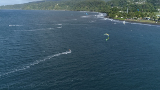 Tahiti, Mahina, aerial view of Motu Martin and kite surfers, 4K UHD