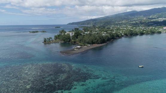 Tahiti, Arue, aerial view of Taharaa and Pointe Venus, 4K UHD