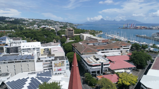 Tahiti, aerial drone shot of the cathedral Notre Dame of Papeete, 4K UHD