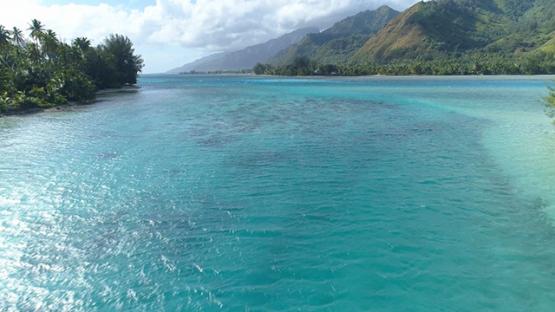 Moorea, aerial view between the islets, 4K UHD