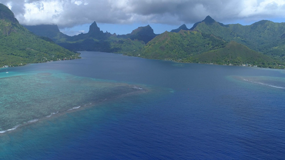 Moorea, aerial view of the Opunohu Bay and the pass, 4K UHD