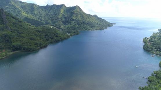 Moorea, aerial view of Opunohu Bay, 4K UHD