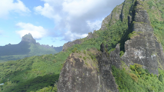 Moorea, aerial view of the crest of Mount Rotui, 4K UHD