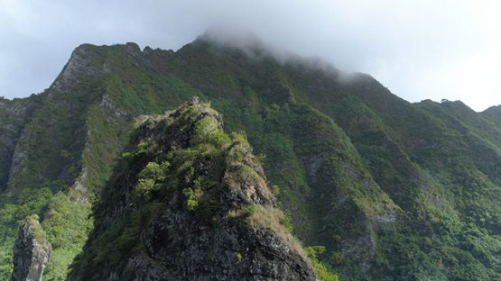 Moorea, aerial view of the mount Rotui in the clouds, 4K UHD