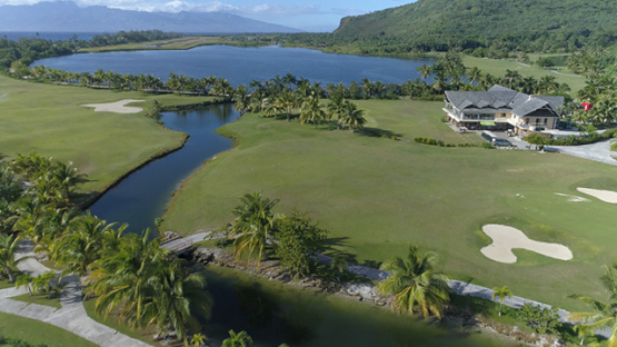 Moorea, aerial view of the golf and club house, 4K UHD
