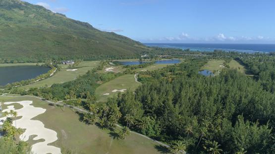 Moorea, aerial view of the golf club, 4K UHD