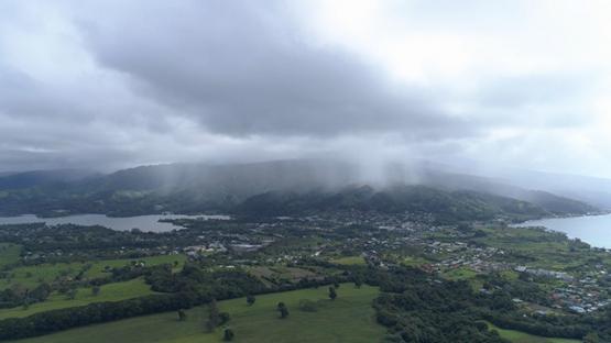 Peninsula of Tahiti, Aerial view of Taravao under clouds, 4K UHD