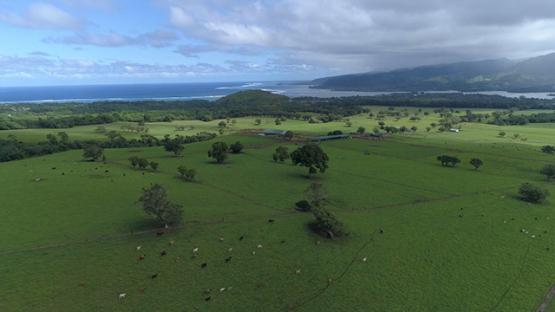 Peninsula of Tahiti, Aerial view of plain of Taravao, 4K UHD