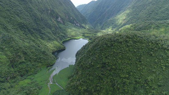Tahiti, aerial view of the lake Vaihiria in the middle of the mountains, 4K UHD