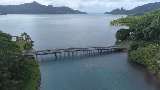 Huahine, aerial view of the bridge between islands, 4K UHD