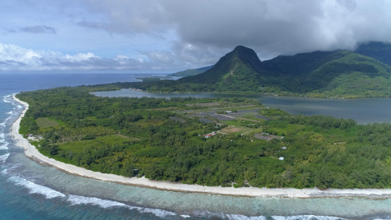 Huahine, aerial view of the lake Maeva, 4K UHD