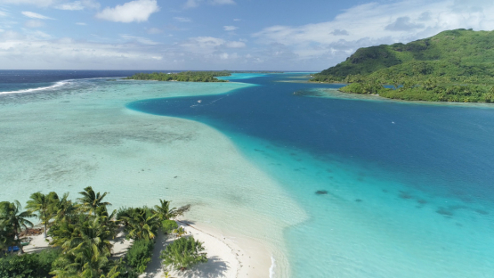 Huahine, aerial view of the lagoon and islets, 4K UHD