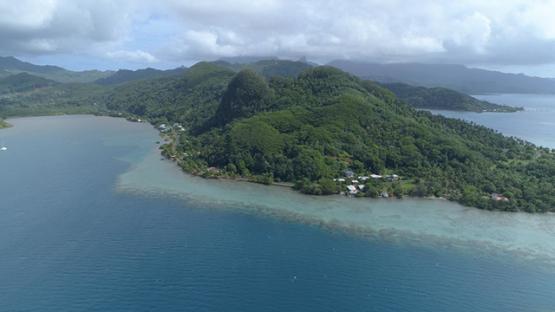 Raiatea, aerial view of folded rocks, Taputapuatea, 4K UHD