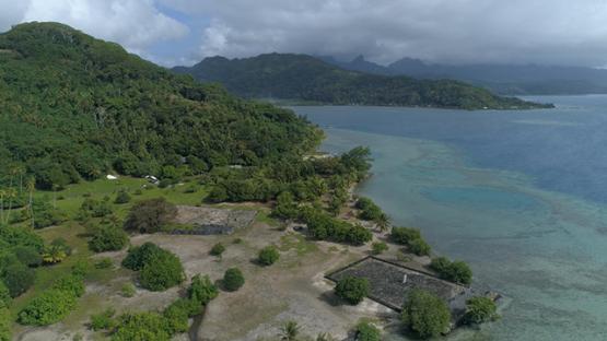 Raiatea, aerial view of the cultural site, marae Taputapuatea, 4K UHD