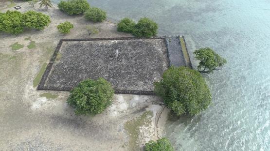 Raiatea, aerial view of the cultural marae Taputapuatea, 4K UHD