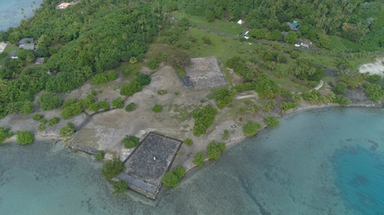 Raiatea, aerial view of the cultural site marae Taputapuatea, 4K UHD