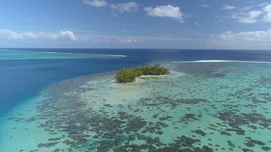 Raiatea, aerial view of the lagoon and pass Miri Miri, 4K UHD