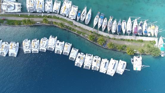 Raiatea, aerial view above the marina of Uturoa, 4K UHD