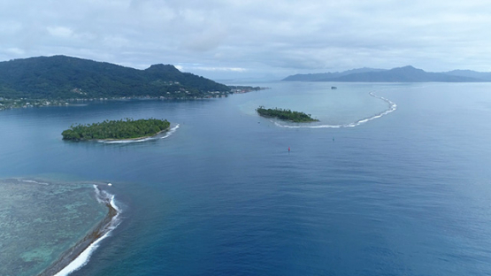 Raiatea, aerial view of the island and pass Uturoa, 4K UHD