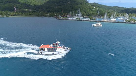 Raiatea, aerial view of a boat transporting pessengers to Tahaa island, 4K UHD