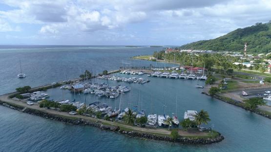 Raiatea, aerial view of the marina of Uturoa, 4K UHD