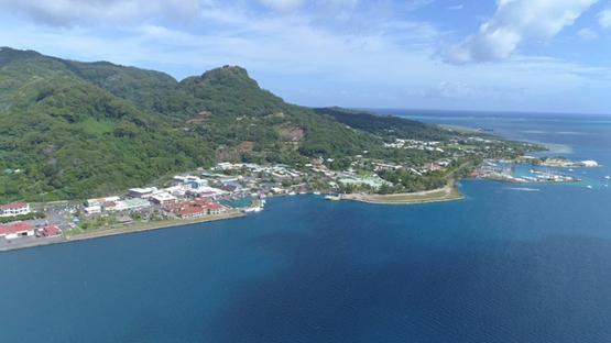 Raiatea, aerial view of the harbour and village of Uturoa, 4K UHD