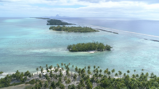 Tahaa, aerial view of the island and lagoon, 4K UHD