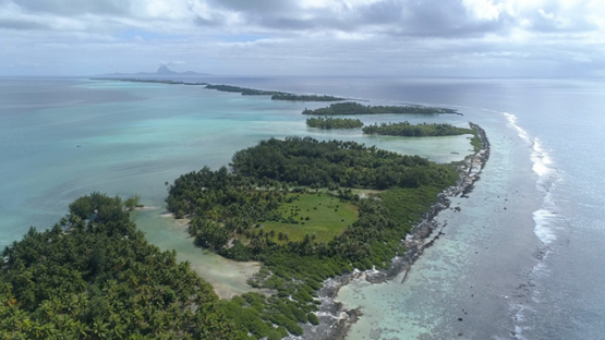 Tahaa, aerial view of the barrier reef and islets, 4K UHD