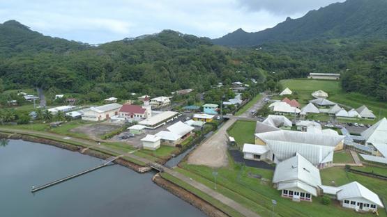 Tahaa, aerial view of Haamene bay and church, 4K UHD