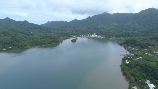 Tahaa, aerial view of Haamene bay, 4K UHD