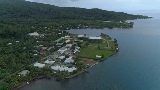 Tahaa, aerial view of the the village Patio, 4K UHD