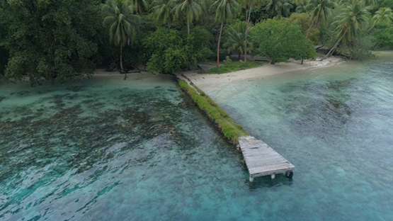 Tahaa, aerial view of a pontoon and white sand beach, 4K UHD